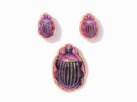 14k Yg Pin, Earring Set Of Scarabs