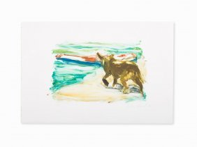 Eric Fischl, Dog At The Beach, Monotype, 1986
