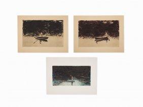 Susan Hall, Three Monotypes, Usa, 1989