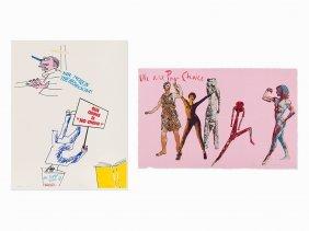 Nancy Spero & Leon Golub, Pair Of Prints, 1992