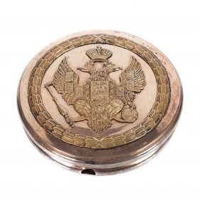 Russian Silver-gilt Seal Box With Double-headed Eagle