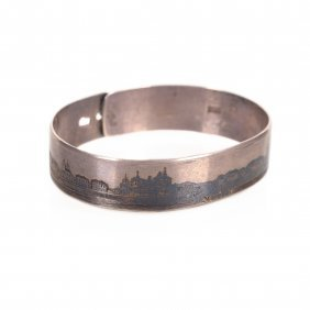 Silver Bracelet With Panoramic View Of Velikii Ustug.