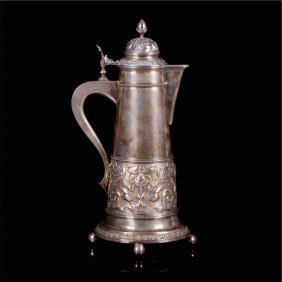 Russian Silver Wine Jar With Floral Decoration.