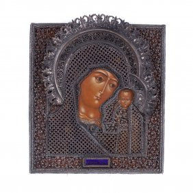 Russian Icon Of Mother Of God Of Kazan. Moscow, 1816y.