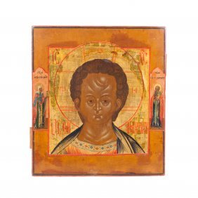Russian Icon Of Christ Emmanuil With Saint Leontiyn Of