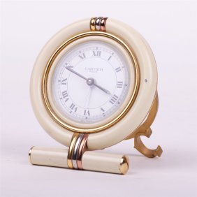 "Desk Quartz Clock With Alarm ""cartier""."