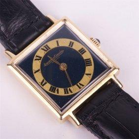 """18k Gold Quartz Ladies Wristwatch """"jaeger Le Coultre""""."""