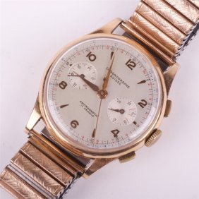"""suisse"" Gold 18k Mens Wristwatch With Chronograph."