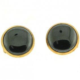 Pair Of 14k Yellow Gold Hematite Earrings.