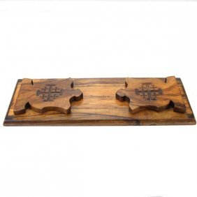 Olive Wood Jerusalem Cross Bookends Early 20th Century