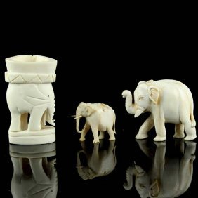 3 African Carved Ivory Elephant Figures.