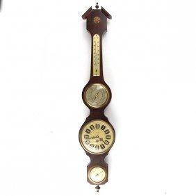 Spanish Mahogany Barometer Thermometer Hygrometer Clock