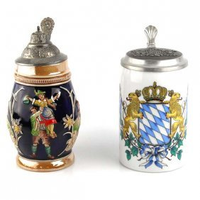 2 German Ceramic Tankards.