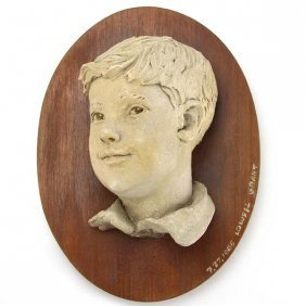 Lowell Grant Terracotta Sculpture Of A Young Boy, 1965.