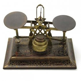 Antique Sampson Mordan Boulle Work Letter Scale Ca 1890