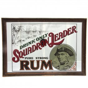Squadron Leader Rum Mirrored Ad Sign.