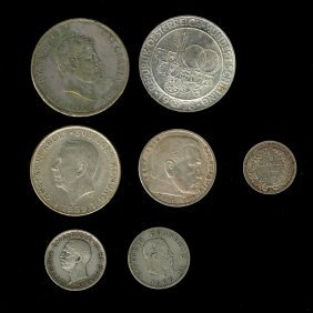 Lot Of 7 Silver Coins Of The World.