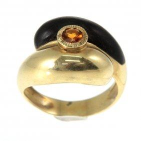 14k Yellow Gold Citrine And Ebony Ring.