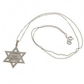 14k White Gold Star Of David Pendant On Chain.