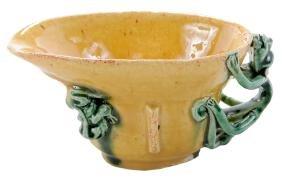 Sancai Glazed Biscuit Libation Cup