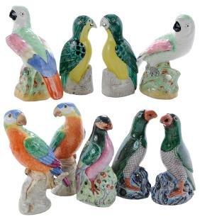 Group Nine Ceramic Parrots