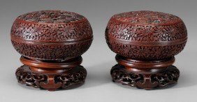 Two Cinnabar Lacquer Boxes