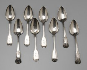 Eight Charleston Silver Serving Spoons