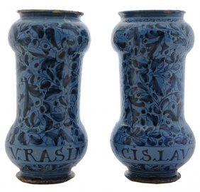 Pair Italian Renaissance Tin-Glazed