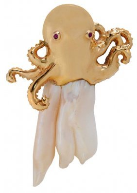 Gold, Ruby And Pearl Octopus Pendant