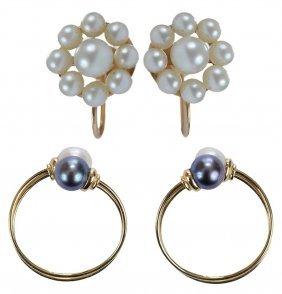 Two Pair Pearl Earrings