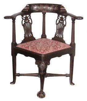 George Ii Carved Walnut Corner Chair