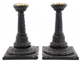 Rare Pair Anglo-indian Carved Rosewood