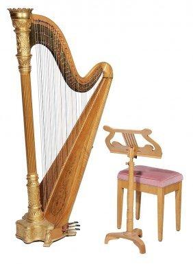 Fine Lyon & Heily Gilt-decorated Harp,
