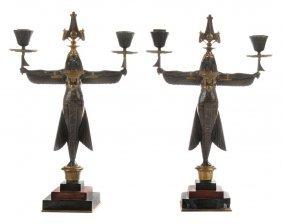 Pair Gilt Bronze Egyptian Revival Two-