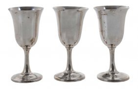 Set Of Ten Wallace Sterling Goblets