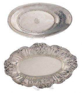 Two Sterling Bread Trays
