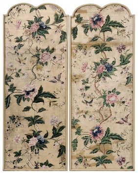 Two Hand-painted Silk Hanging Panels