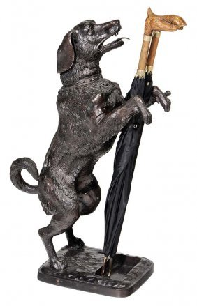 Bronze Dog-form Umbrella Stand