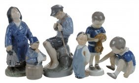 Six Danish Porcelain Figures Of Boys