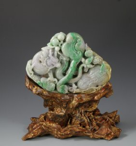 A Jadeite Carving Group With Wood Stand