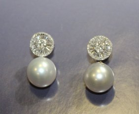Diamond Earring And Cultured Pearl