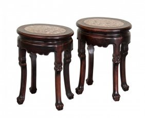 Pair Of Chinese Rosewood Stools