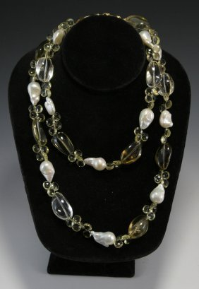 Long Citrine-pearl Necklace