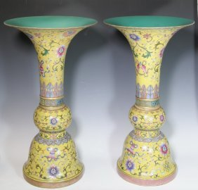 A Pair Of Yellow-ground Famille Rose Beaker Vase