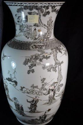 Grisaille Enameled Porcelain Vase