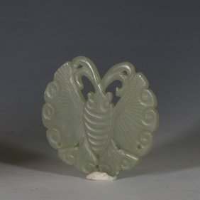 White Jade Carving Butterfly Pendant