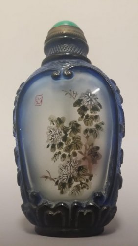 A Chinese Blue Frame Translucent Snuff Bottle