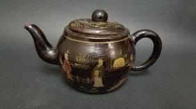 A Chinese Black Background Lady Tea Pot