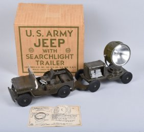 Marx Us Army Jeep Amp Searchlight Trailer W Box Lot 158