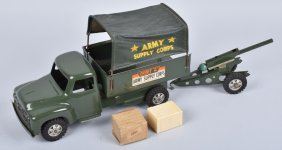Buddy L Army Supply Truck & Cannon